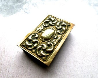 Art Nouveau Design Brass Match Box Holder