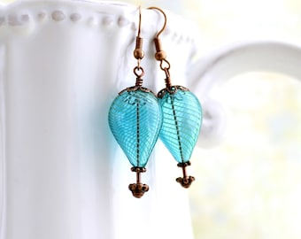 Turquoise Blue Hot Air Balloon Earrings of blown glass beads and copper - Aqua Balloon Jewelry - Steampunk Earrings - Robins Egg Blue Glass