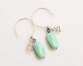 Sterling Silver Turquise Swirl Earrings, Czech Glass Earrings, Sterling Silver Earrings