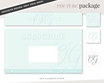 Pre-Made YOUTUBE Banner Package   YouTube Channel Art   YouTube Branding End Slate Avatar Watermark