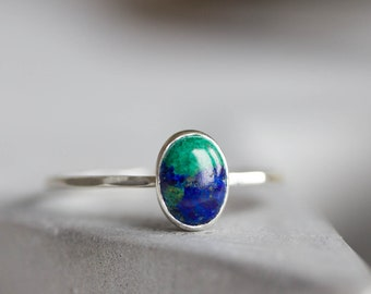 Azurite - stackable ring with oval Azurite cabochon, sterling silver