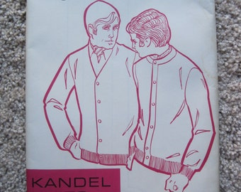 UNCUT Men's Basic Cardigan with Set-In Sleeves - Chest Size 38-46 - Kandel Pattern No. 20 - Vintage 1969