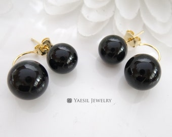 Audacious [10/12] Double Onyx Earrings in Jet Black, Onyx Earrings, Sterling Silver Post