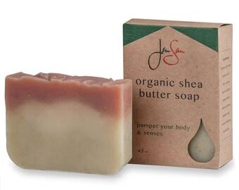 Handmade Rose Geranium Organic Shea Butter Soap Bar - Scented with Essential Oils