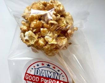 6 Gourmet Caramel Popcorn Balls on a Stick