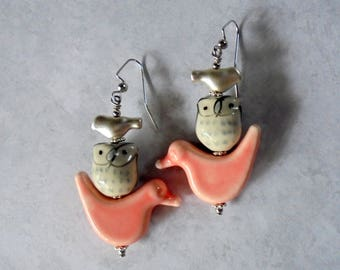 Pink, Gray and Silver Bird and Owl Earrings (3811)