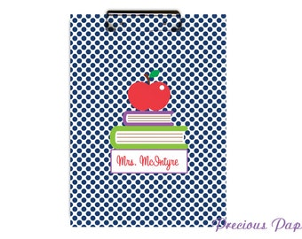 Personalized teacher clipboard teacher gifts navy polka dot clipboard personalized clipboards, school gifts, student gifts