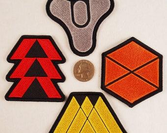 Destiny patches. Player Classes. Hunter, Titan, Warlock. Iron-on, but still sewable.