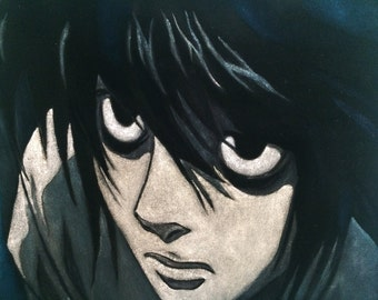 Black Velvet Portrait - L Lawliet - Death Note