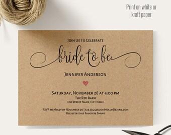 Bride to be invitation, Printable wedding templates, bridal shower invite, Instant download self editable pdf A607