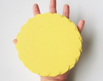 16 Scalloped Circles, Big Scallops for banner, Banner supplies, (5 inches) in Baby Yellow Textured Cardstock  A102
