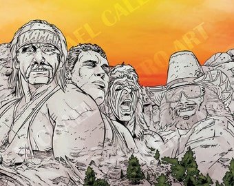 """WWF """"Legends"""" Mount Rushmore ( Hulk Hogan , Andre the Giant , Ultimate Warrior and Macho Man Randy Savage )"""