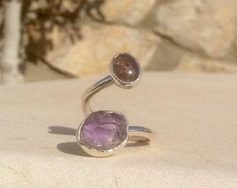 Tourmaline Silver Ring, Two Stone Ring, Dual Gemstone Ring, Double Stone Ring, Adjustable Ring, Amethyst & Tourmaline Ring