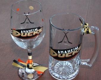 Anaheim Ducks Glassware, Sports Glassware, Hockey, Ducks Gifts, Ducks Hockey Gifts