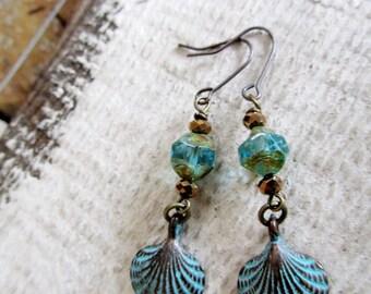 Blue Patina Shell Earrings, Verdigris Boho Dangles, Hippie Earrings, Beach Jewelry,
