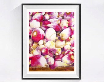 Vegetable Art, Turnip prints, Healthy food, Magenta white painting, Farmers market painting, Gift for Vegetarian, Vegetables, Kitchen decor