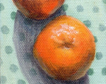 3x3 Mini Painting, Small Acrylic Painting on Canvas, Still Life for Home Decor Orange and Green