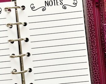 Pocket Notes printed planner refill insert - lined paper - note taking - journal