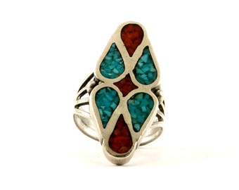 Vintage Navajo Rhombus Shape Turquoise Coral Ring 925 Sterling RG 2061-E