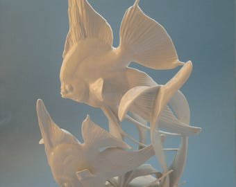 Huge Rosenthal Porcelain Blanc de Chine Figure Sculpture Angel Fish Scalare by Fritz Heidenreich