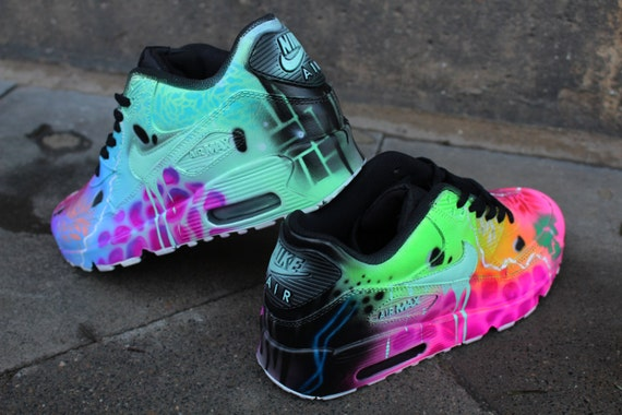 Custom Nike Air Max 90 Funky Galaxy Colours Graffiti Airbrush Sneaker Art