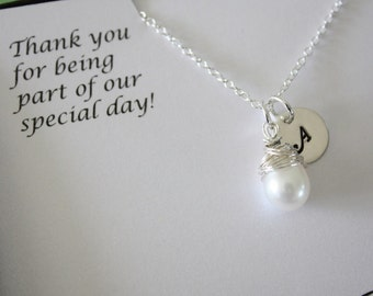 3 Bridesmaid Personalized Gifts, Bridesmaid Necklaces, Thank you Cards, Initial & Pearl Sterling Silver Necklaces