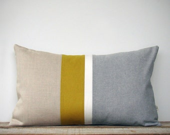Grey Chambray and Mustard Yellow Striped Lumbar Pillow | Minimal Home Decor by JillianReneDecor (Custom Colors Available) Honey Gold