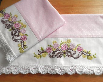 MIA Pink Pearl Polka Dot Pillowcases with Embroidery and Crochet