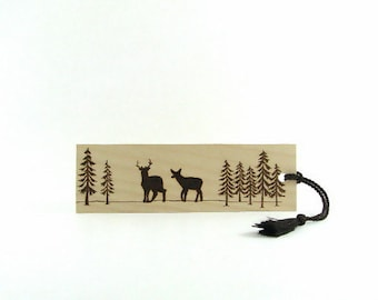 Wooden bookmark - Creative Wood Pyrography - Deer Hunting