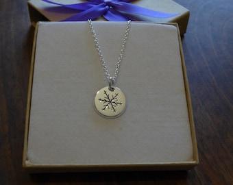 Silver Snowflake Necklace Pendant