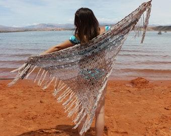 Boho chic wrap shawl - festival shawl - hippie chic