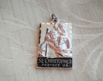 Vintage STERLING St Christopher Protect Us Religious Medal Pendant