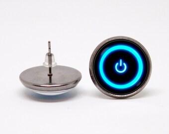 Power button earrings Computer earrings Geek jewelry Girlfriend gift Tech jewellery Power symbol Computer nerd Gift for gamer Geek earrings