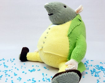 SAMUEL WHISKERS, Beatrix Potter, handknitted rat, hand knitted nursery toy, knit rat, knitted soft toy, knitted childrens toy, story book