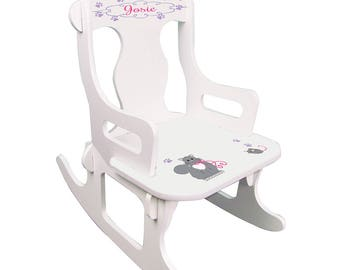Personalized Kitty Cat Puzzle Rocker Kittens Felines Theme Décor Pink And Gray Paw Print puzz-whi-322