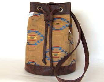 Tan Southwestern, Native American Brown Embossed Vegan Leather Bucket Bag Purse