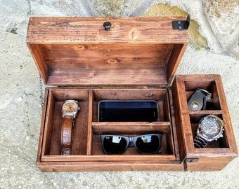 Personalized men's valet box , wooden watch box , rustic jewelry box , gift for him .