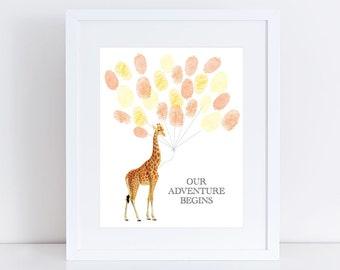 "baby guest book giraffe baby shower sign-in print 10x8"" fingerprint balloon nursery artwork, personalised wall art for new baby keepsake art"