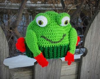 Hoppy Happy Frog Hat Crochet Pattern