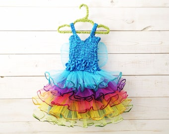Rainbow Tutu, Sequin Hem, Fairy Dress, Fairy Wings, Sequin Dress, Butterfly Wings, Flower Girl, Wedding, Flower Girl Dress, Rainbow Costume