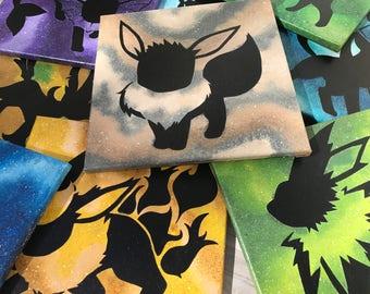 Shiny Eeveelutions - 12x12 Paintings - Nintendo, Anime - Eevee Jolteon Flareon Vaporeon Espeon Umbreon Glaceon Leafeon Sylveon