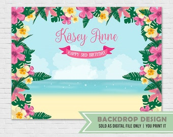 Hawaiian Luau Party Backdrop //DIGITAL FILE Only // Tropical Party Banner Backdrop // Aloha Backdrop