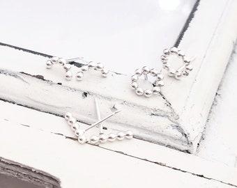 Dainty Beaded Stud Earrings . Ball Earrings . Beaded Wire Stud Earrings . Silver . Minimalist . Brag About It