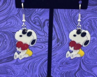 Snoopy Earrings, Snoopy with Red Heart, Peanuts