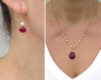 Red jade pendant, Pearl jewelry set, Natural ruby earrings