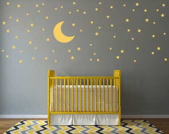 Moon and Stars Wall Decal Set - 74 Star Decals - Moon Wall sticker - Nursery Wall Decal Set