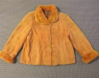 1960's, reversible, fur, swing coat, in apricot, Women's size Medium/Large