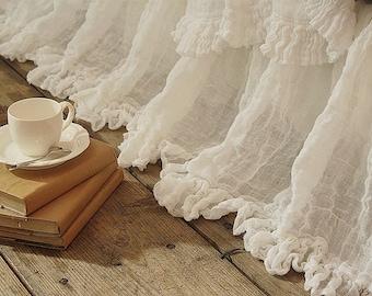 """Linen BED SKIRT PANEL Dust Ruffle Sheer linen bed skirt panels with 3"""" ruffle drop 15"""" up to 28"""" Gathered bed skirt Shabby Chic bedding"""