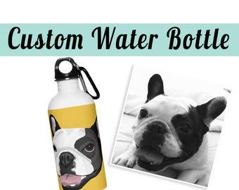 CUSTOM WATER BOTTLE | Send your photo | Dog | Cat | Illustration | Gift | Pet Art