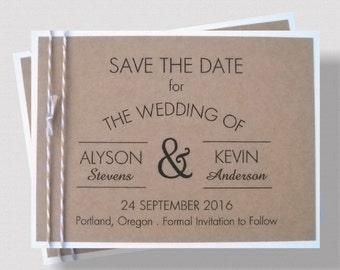 Rustic SAVE THE DATE Cards   Shabby Chic Save the Date Cards with Twine  Accent   Country Save the Date Card Rustic    Printed Save the Date